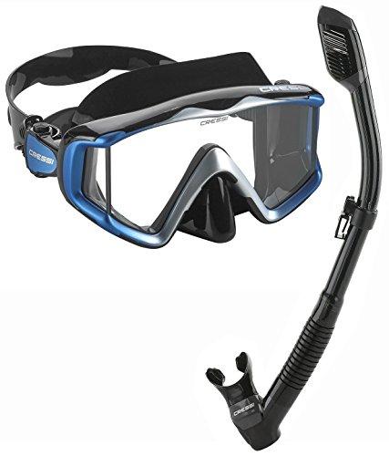 Cressi Panoramic Wide View Mask Dry Snorkel Set (Pano 3 Metalic Blue) ()