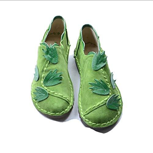 DraFenn Wind Handmade Genuine Leather Shoes Literary Artistic Women Shoes Flat Bottom Leisure Single Shoes Green 5.5