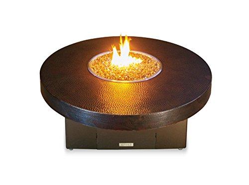 COOKE Hammered Copper Santa Barbara Round Fire Pit Table - 48DIA x 18 - Propane - Bronze Powdercoat