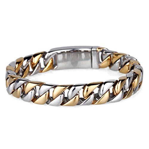 MASOP Gift for Him Men's Stainless Steel Curb Link Chain Bracelet Silver Gold Two Tone 8.5