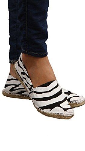Gomma Anatra Donna Diana Espadrillas Slip On Scarpe Zebra