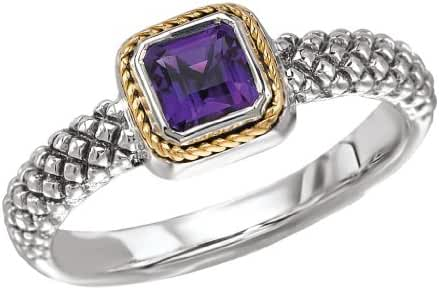 925 Silver & Amethyst Square Modern Ring with 18k Gold Accents- Sizes 6-8