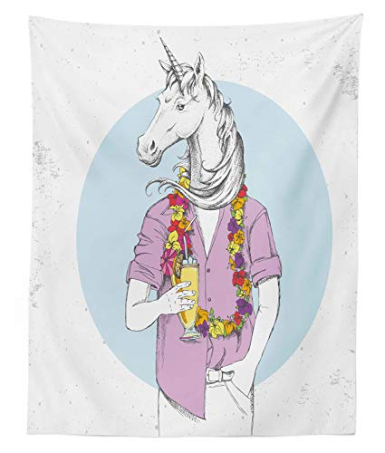 Lunarable Funny Tapestry Twin Size, Hipster Unicorn Man Fantasy with Tropic Cocktail and Hawaiian Flowers Graphic, Wall Hanging Bedspread Bed Cover Wall Decor, 68