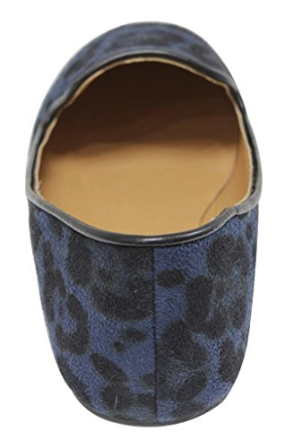 Anna Sonia-12 Womens Flat Oxford Slip På Båten Leopard Animal Print Semskede Loafers Blå