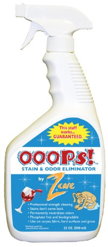 UPC 897931001288, Ooops Stain and Odor Remover by Z Care - Eliminates Wine Stains, Pet Stains and Odors, Oil Stains, Dirt and Grass Stains and More - 22 Ounce Spray Bottle