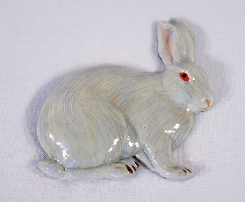 Hand Painted White Rabbit Refrigerator Magnet