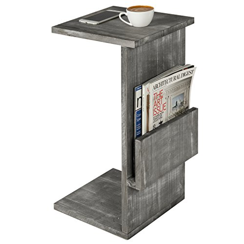 Gray Whitewashed Wood Sofa Side Table with Magazine Holder Rack, Under-the-Couch Sliding Tray by MyGift