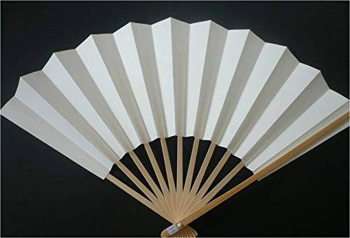 YokohamaUSA Japanese SENSU Fan Shodo Calligraphy Plain White/Made in Japan ()