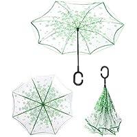 Guarda Chuva Invertido Sombrinha Transparente o Contrário Verde