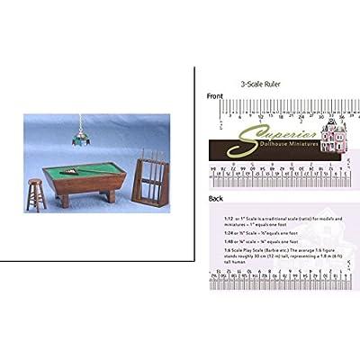 Dollhouse Miniature Mahogany Pool Table Set 24pc: Toys & Games
