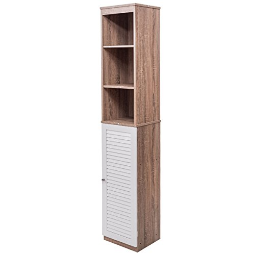 Tall Wood Tower 71'' Bathroom Bedroom Shelf Organizer Storage Cabinet Louvered by Heaven Tvcz