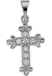 Children's Diamond Apostles Cross 14k White Gold Pendant