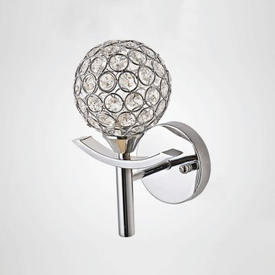 QIANG Striking Torch-like Single Light Beautiful Crystal Beads and Wrought Iron Frame Composed Lavish Wallchiere