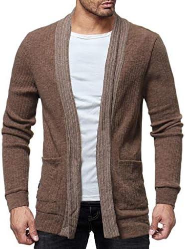 暖かいニットウェアスリムフィット ポケットカジュアルジョーカーセータージャケット付きメンズソリッドカラーホルターカーディガン 大きいサイズ (Color : Khaki, Size : M)