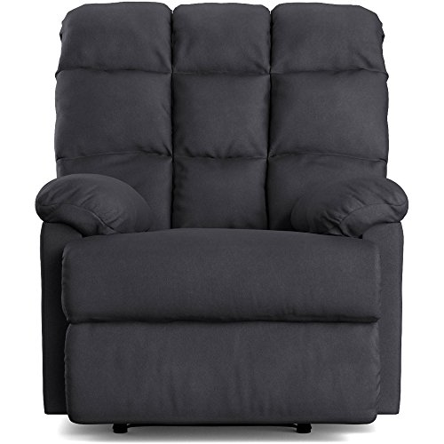 Wall Hugger Microfiber Biscuit Back Recliner Chair, Multiple Colors (gray) (Saddle Reclining Sectional)