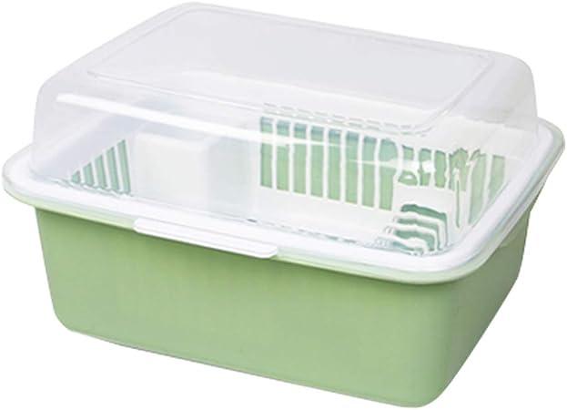 Dish rack Cubiertos Caja de Almacenamiento Poner tazón desagüe Estante Caja de Almacenamiento del hogar con Tapa Armario de plástico Cocina Estante de Almacenamiento: Amazon.es: Hogar