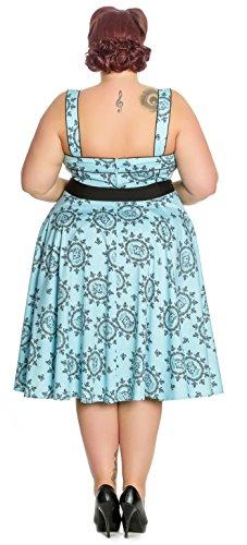 Retrokleid mit Muster Kleid Size Rosen Sailor Damen Anker Girl Plus Bunny schwarzem Hell Hellblau 0qn4Pax