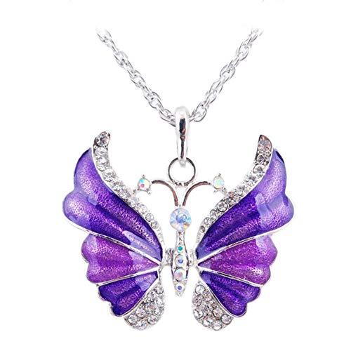 (Aysekone Purple Elegant Rhinestone Alloy Enamel Butterfly Pendant Necklace Suspension Silver Plated Vintage Sweater Chain Necklace for Women Girls)