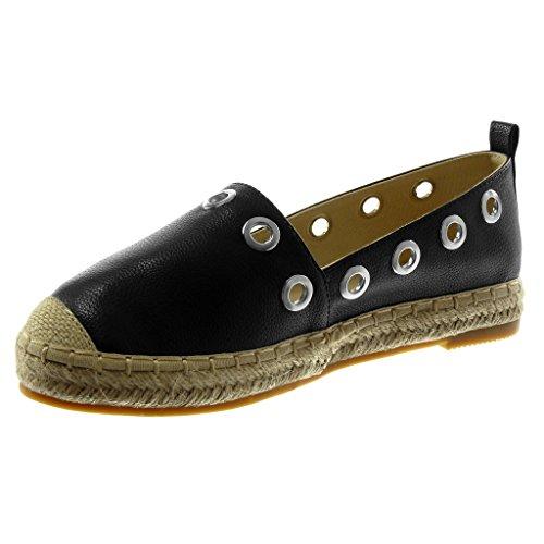 Perforée 5 Chaussure Grainé Cm Talon Espadrille Femme Noir Corde Slip Bloc Angkorly Mode 2 on TawggqY