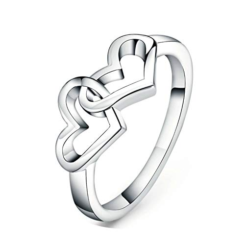 (Simple Style Heart to Heart Ring Rose Gold Color Fashion Jewelry ZYR215 R252 Rose Gold Color)
