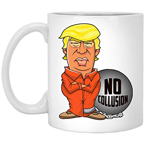 UMACVN President Trump No Collusion Prison Orange Jumpsuit Mug Coffee Cup Gifts for Mom Dad Family Friends