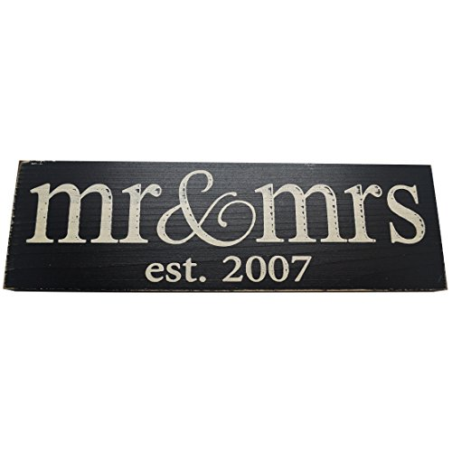 Local Artist Mr & Mrs Est. 20XX Anniversary Wood Sign ((Sm) Lowercase, 2007 Black) -