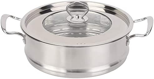 Zerone Steamer Pot,26CM Stainless Steel Double Layer Food Steamer Pot Stockpot Cookware Household Cooking Tool    Specification: Condition: 100% Brand New Product material: 201 stainless steel Product specifications: 26cm Pot bottom type: composite bottom Product Type: Steamer, stockpot Product size: about 26 * 26 * 22.5cm / 10.2 * 10.2 * 8.9in Product features: steamed, boiled, braised, etc.