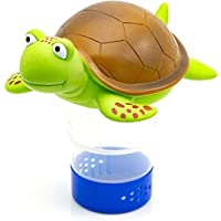 WWD POOL Premium Animal Floating Pool Chlorine Dispenser for Chemical Tablets Fits 3″ Tabs Bromine Holder (Turtle)