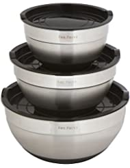 Premium Stainless Steel Mixing Bowls with Lids by Fox Point.1.5 Qt., 3 Qt., 5 Qt. Mixing Bowl Set is Stackable with Non-Slip Silicon Bottom. 3 Mixing Bowl Set