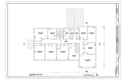 (Historic Pictoric Blueprint Diagram Second Floor Plan - Sheldon Jackson College, Stevenson Hall, Baranof Island, Sitka, Sitka Borough, AK 12in x 08in)