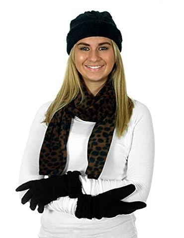 Women's 3 Piece Micro Fleece Hat, Scarf & Gloves Winter Set (Leopard)