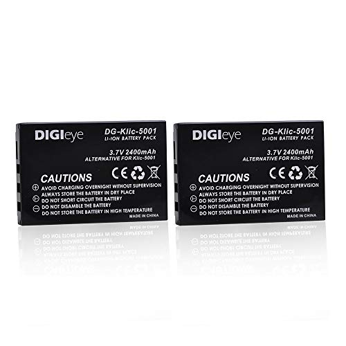 - DIGIeye 2 x 2400mAh KLIC-5001 Replacement Battery for Kodak Easyshare P712 P850 P880 Z730 Z760 Z7590 DX6490 DX7440 DX7790 DX7630 Zoom Sanyo DB-L50 DMX-WH1 HD1010 FH11 HD2000 VPC-WH1 DMX-WH1