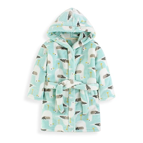 Fankeshi Kids Hooded Robe Soft Fleece Bathrobe Children Pajamas Baby Plush Robe (Blue Pigeon, 140cm /7T)