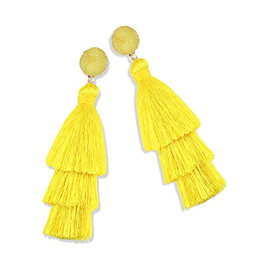 (Statement Tassel Earrings for Women Drop Dangle Handmade Tiered Thread Layered Bohemian Beach Party Girl Novelty Fashion Summer Accessories - E3 Yellow)