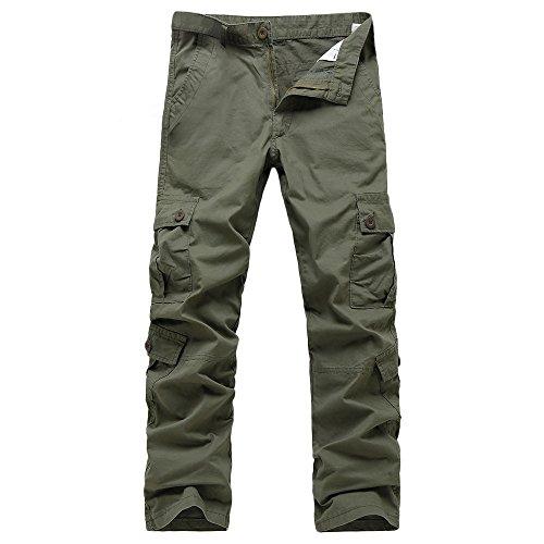 Tinta Multi tasca Cargo Verde Lavoro Uomo Casual Unita Pantaloni Pantalone In Jiameng Cerniera Vita Da Esercito A XUOn0Bxq