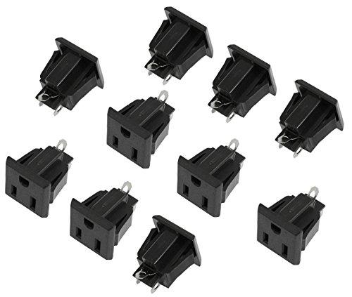 US 3 Pins Power Socket Plug Black AC 125V 15A Pack of 10 (Plug 125v Type 15a)