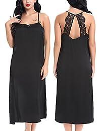 Yulee Women's Satin Long Chemise Nightgown Lace Lingerie Sleepwear S-XXL