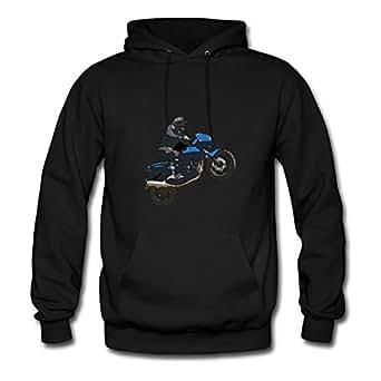 Sarahdiaz Customized Women Motorbike Wheelie Sweatshirts - Motorbike Wheelie Painting In X-large