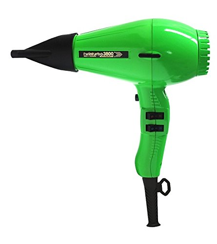 Twin Turbo 3800 Ionic & Ceramic 2100 Watt Hair Dryer, Features a Nickel Chrome Heating Element and Safety Thermostat, with 4 Temperature and 2 Speed Settings, Energy Saving with Up To 60%Faster Drying, Built-In Silencer, Ozone and Eco Friendly, Includes 2 Unbreakable Nozzles, Green Finish