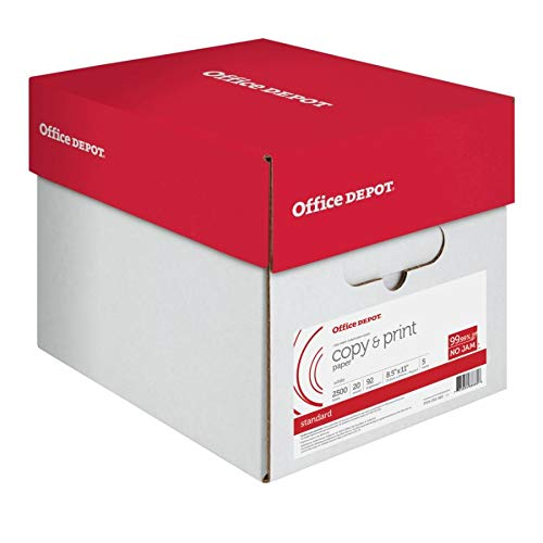 Office Depot Copy Print Paper, 8 1/2in. x 11in, 20 Lb, 500 Sheets Per Ream, Case of 5 Reams, 851201CS 5 Reams X 500 Sheets