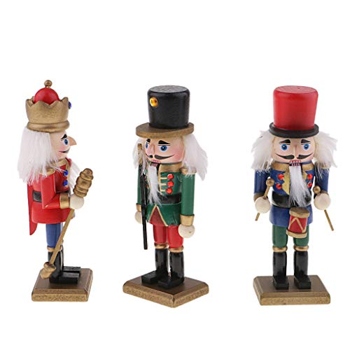 SM SunniMix 3Pcs/Set 15cm Wooden Handmade Nutcracker Soldier Toy DIY Christmas Party Ornaments