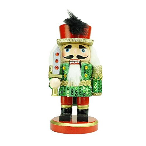 """Northlight 7"""" Green, Red and Gold Wooden Christmas Chubby..."""