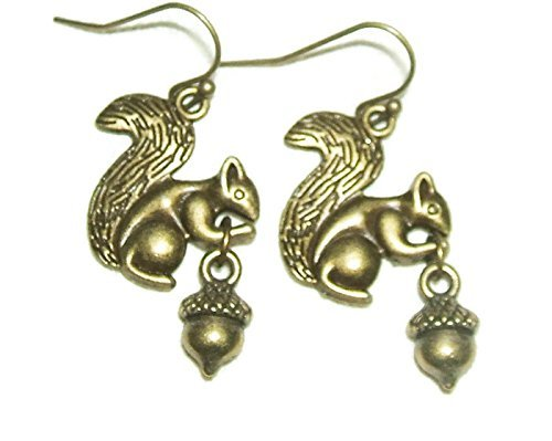 SQUIRREL And ACORN EARRINGS Going Nuts Drop Dangles Nature Woodland Animal Inspired WILDLIFE AWARNESS ()