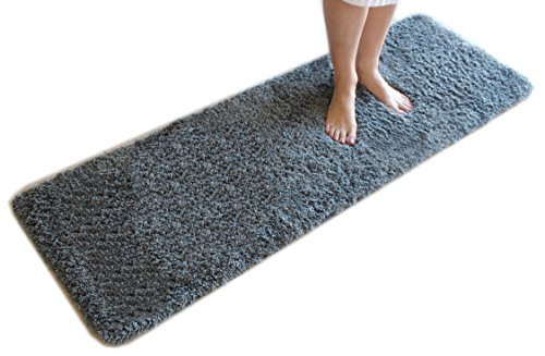 Runner Bath (Gray Bath Mat Runner Rug Shag Non Slip Ultra Plush Microfiber Highly Water Absorbent Durable and Washable for Bathroom (20 Inch X 59 Inch))
