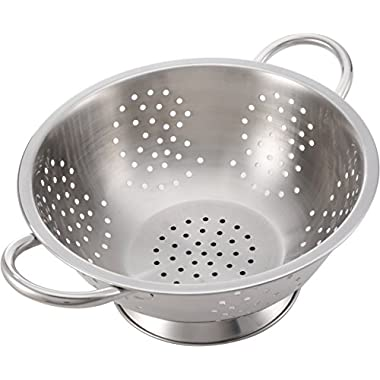 Stainless Steel Colander for Kitchen Food Washing Self-Draining Pasta Bowl Wide Grip Handles Commercial Professional Restaurant Prime Grade Quality