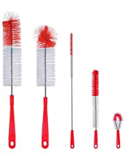 ALINK 5-Pack Red Bottle Brush Cleaner Set - Long Large Cleaning Brush for Narrow Neck Wine/Beer Bottles, Hydro Flask, Thermos, Hummingbird Feeder, S'Well, Water Bottles, Spout/Lid, Straw Brush
