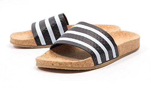 Adidas Sandali Da Donna Adilette Sughero Originali Bianco / Nero / Brownnew