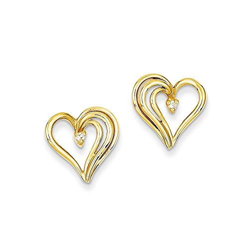 Aa Heart Earring Diamond (14k AA Diamond heart earring Diamond quality AA (I1 clarity, G-I color))