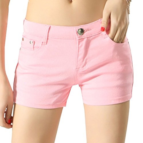 Short Pink with Womens Cayuan Denim Slim Boyfriend Hotpants Pockets Shorts Summer Trousers Jeans wXqq7OzA