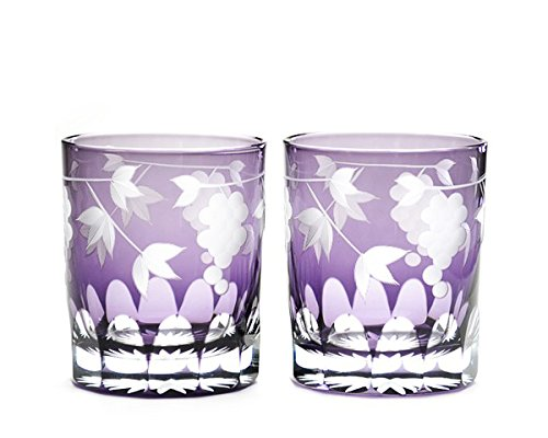 Japanese Edo-Kiriko (Cut Glass) Rocks Glass A Pair of Grape Pattern by KIMOTO GLASSWARE